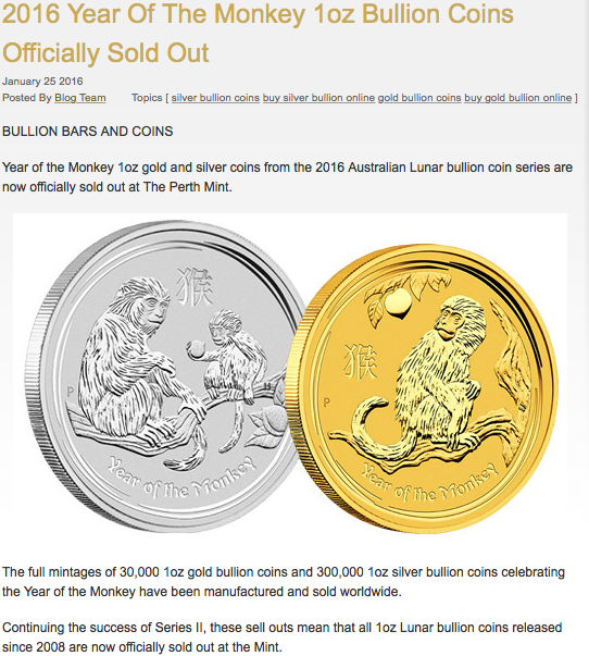 monkey gold coin sold out